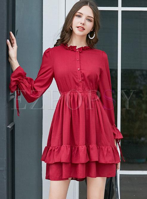 Long Sleeve Falbala A Line Mini Dress
