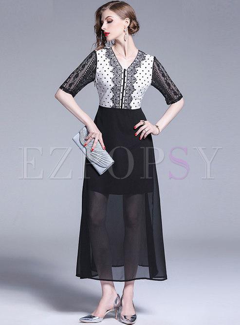 Polka Dot Lace Patchwork Maxi Dress