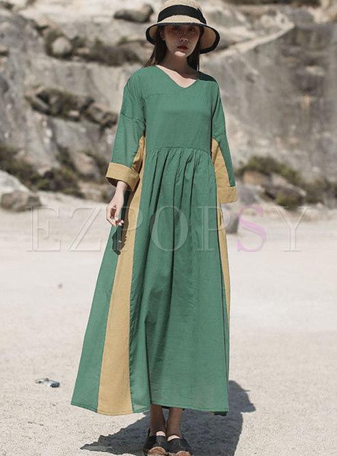Color Block Linen Wrap Maxi Dress