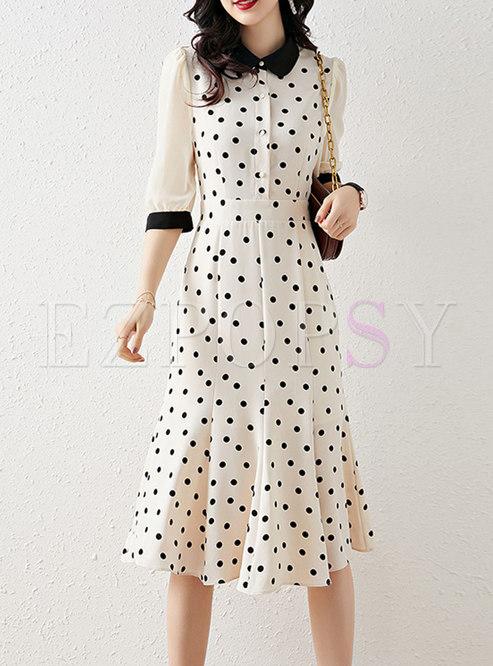Polka Dot Patchwork Peplum Midi Dress