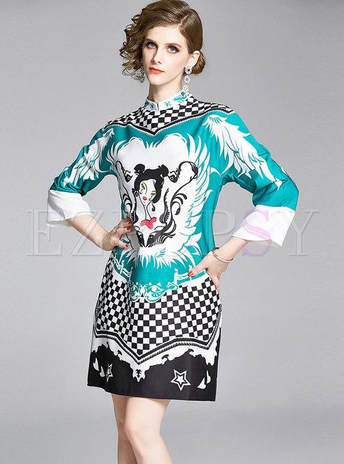 Stand Collar Print Shift Mini Dress