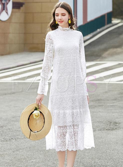 Lace Stand Collar Shift Midi Dress