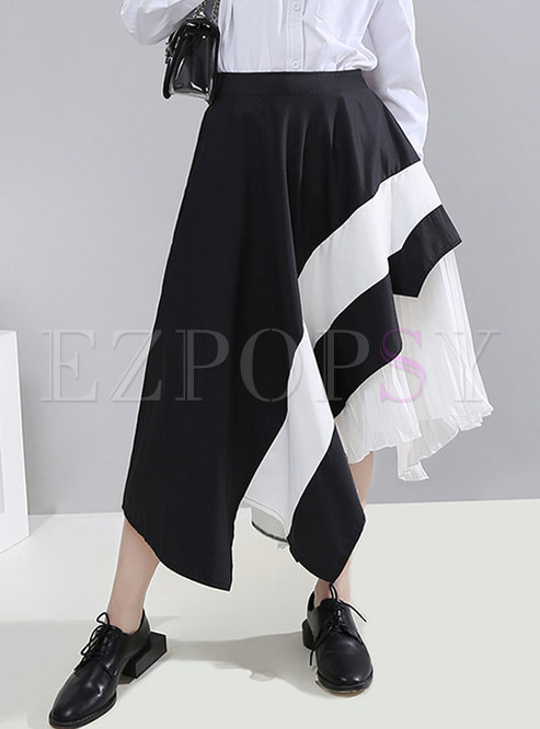Patchwork Asymmetric Color-blocked Pleated Skirt