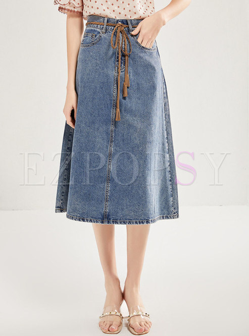 Denim High Waisted Tied A-line Skirt
