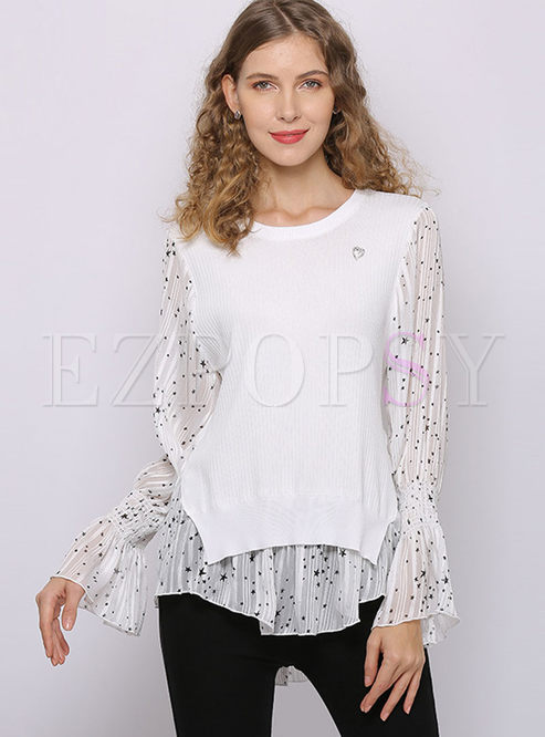 Flare Sleeve Patchwork Asymmetric Sweater