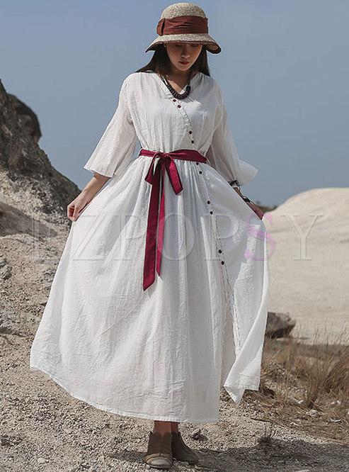 Color Block V-neck Wrap Linen Maxi Dress