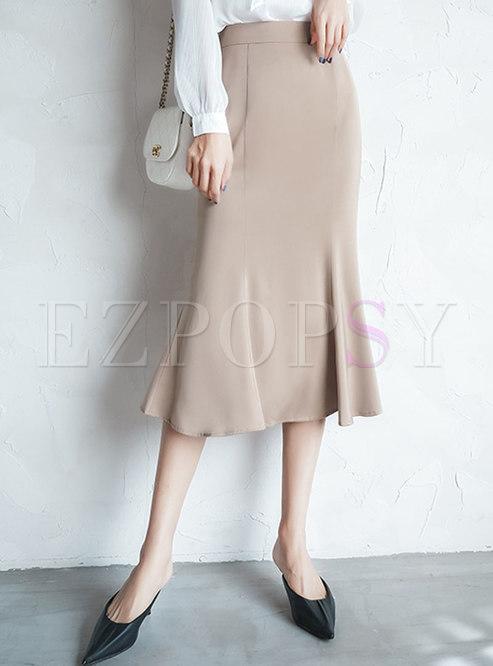 Solid Color Satin Peplum Skirt