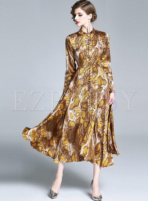 Print Stand Collar Buttoned Maxi Dress