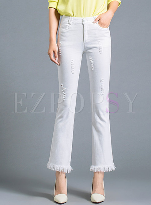 White Cropped Ripped Tassel Flare Pants