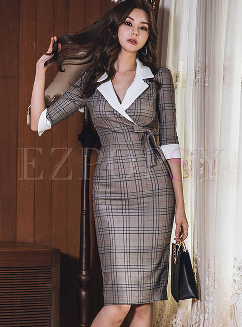 Plaid Wide Lapel Belted Bodycon Dress