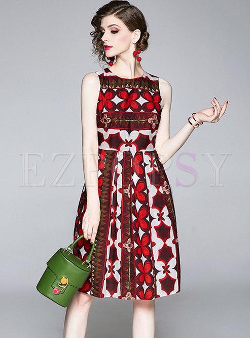 Print Sleeveless Knee-Length Skater Dress