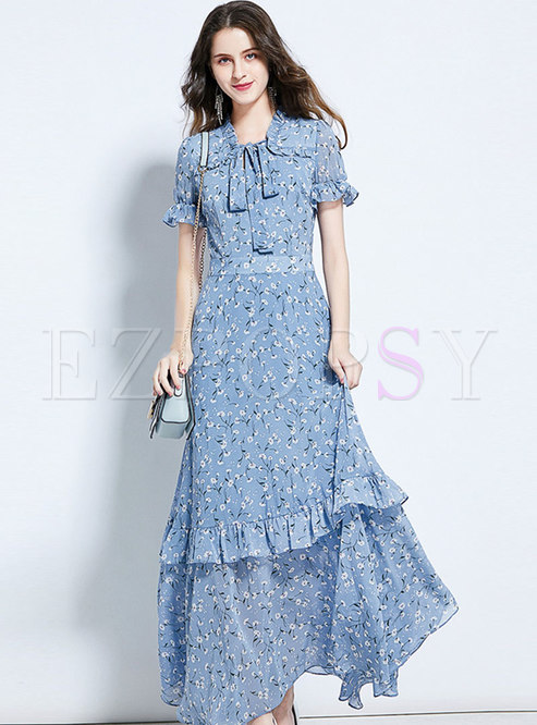 Floral Tie-collar Ruffle Sleeve Chiffon Maxi Dress