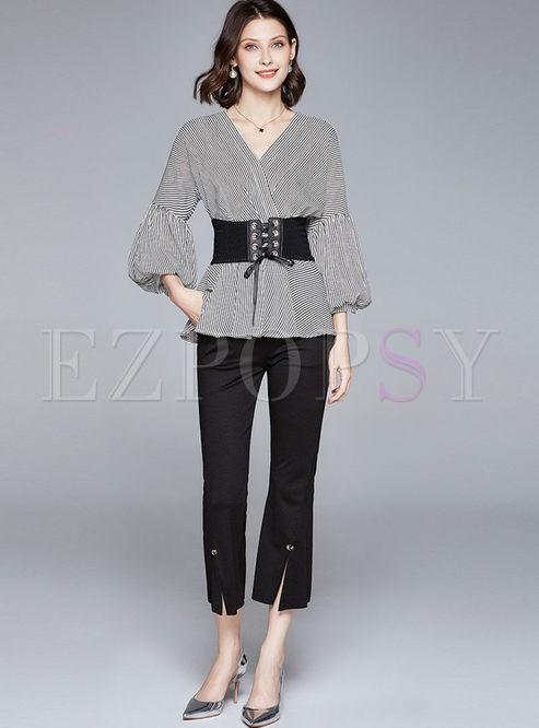 Lantern Sleeve Stripe Blouse & Slit Flare Pants
