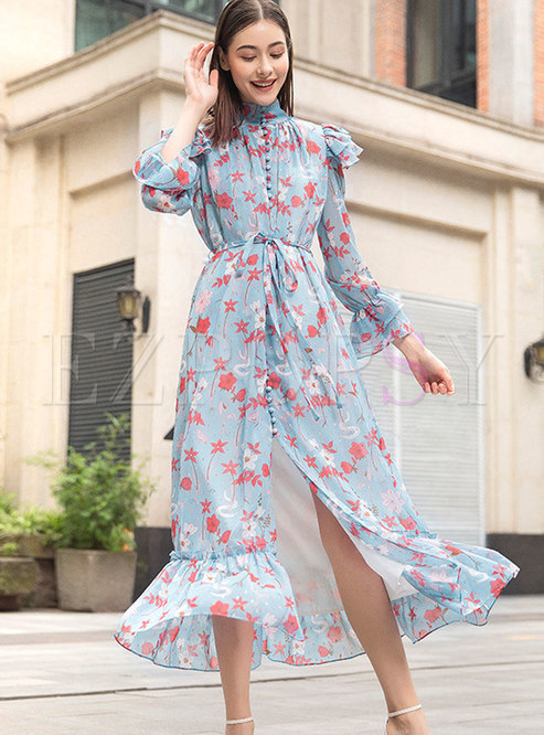 Bohemia Stand Collar Tied Floral Maxi Dress