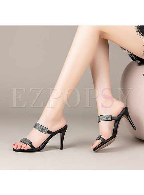 Open Toe Rhinestone Pointed Heel Slippers