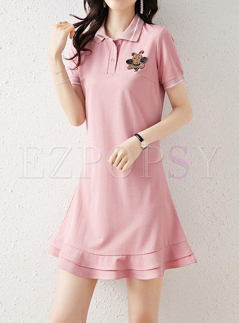 Lapel Casual Ruffle T-shirt Dress