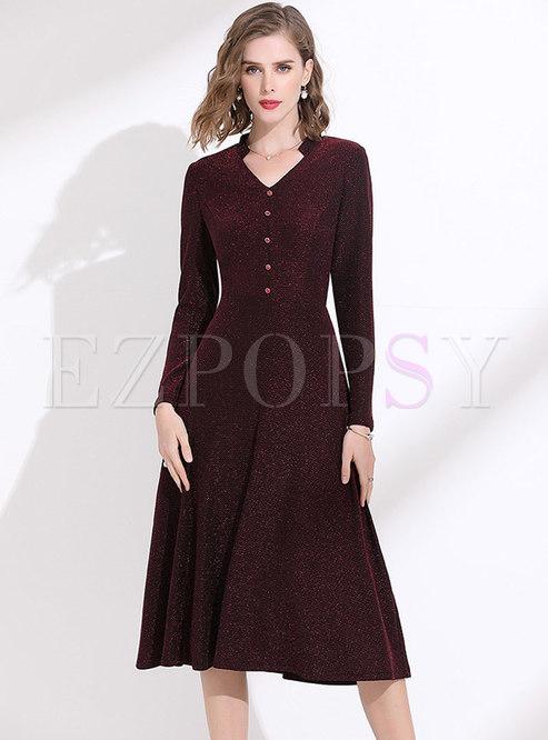 V-neck High Shine Knitted Skater Dress