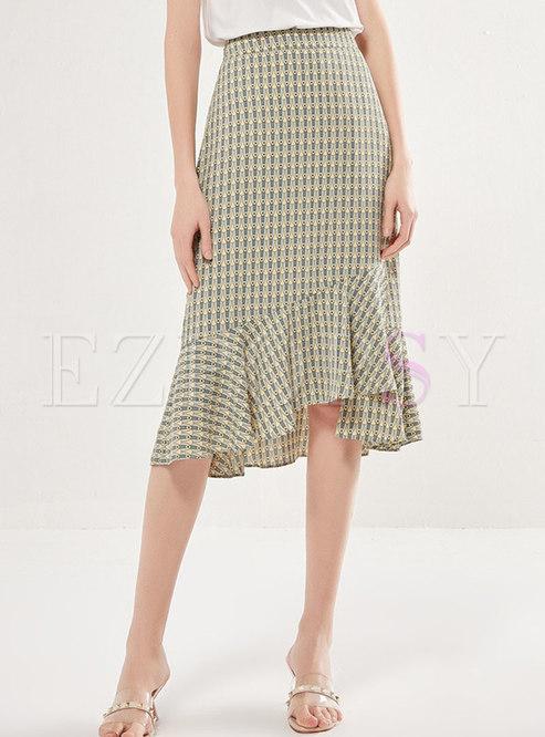 Print High Waisted Asymmetric Peplum Skirt