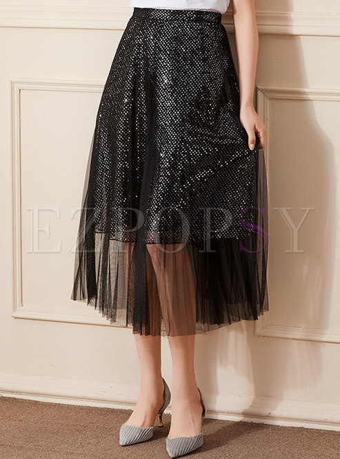 Mesh Patchwork Sequin Pleated A-line Skirt