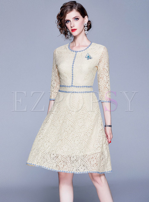 Color-blocked Lace Embroidered Skater Dress