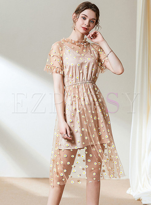 Mesh Stand Collar Floral Perspective Skater Dress