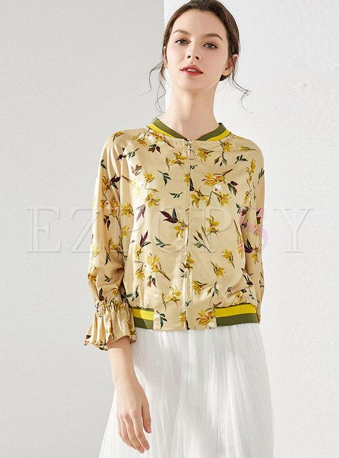 Flare Sleeve Print Stand Collar Jacket