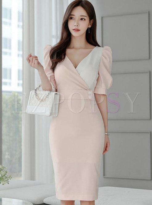 Color-blocked Cross V-neck Sheath Dress