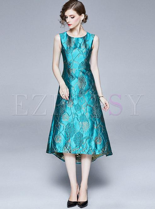 Jacquard Sleeveless Asymmetric Maxi Dress