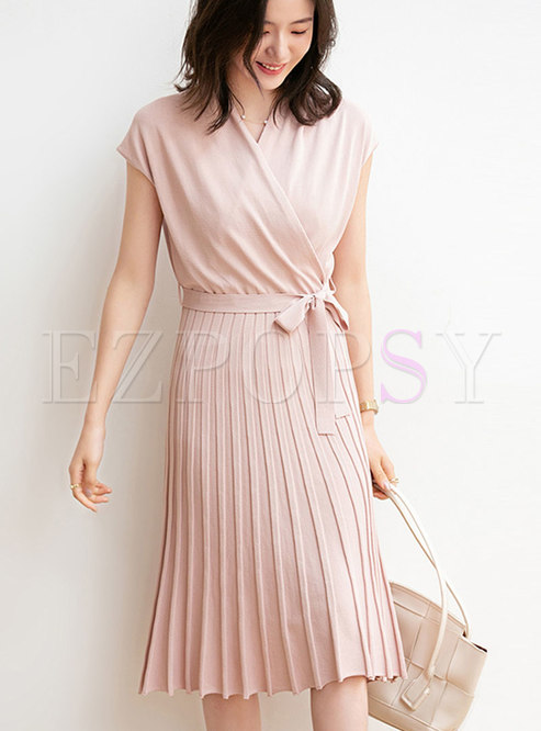 Cross V-neck Wrap Pleated Sweater Dress