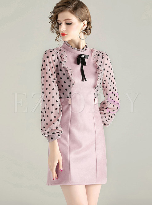 Stand Collar Bowknot Patchwork Bodycon Dress