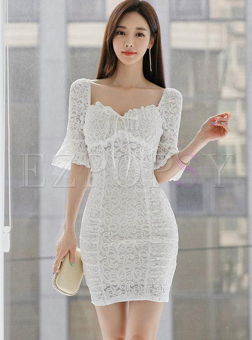 Lace Openwork Tied Sheath Mini Dress