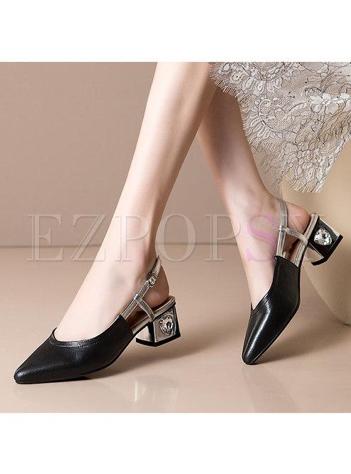 Closed Toe Chunky Heel Openwork Sandals