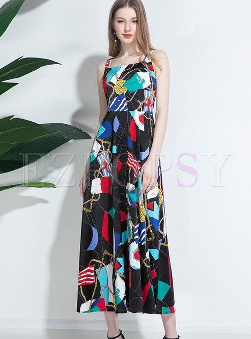Color Block Square Neck Slip Maxi Dress