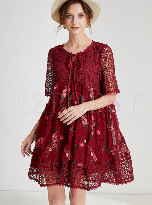 Plus Size Patchwork Embroidered Shift Mini Dress