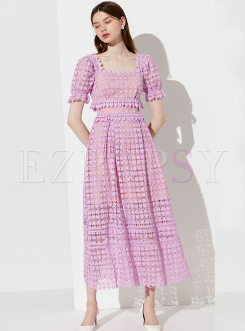 Square Neck High Waisted Lace Maxi Dress