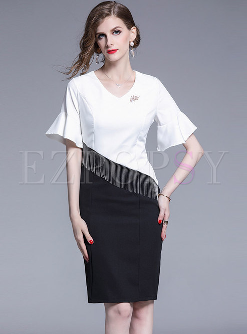 Flare Sleeve Color Block Tassel Sheath Dress