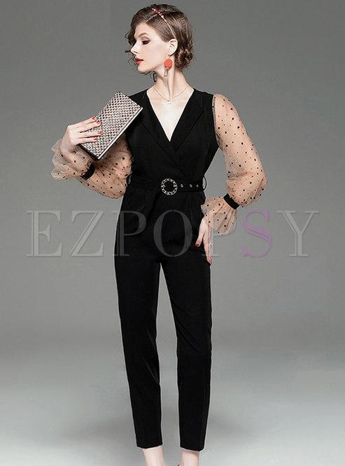 Flare Sleeve Patchwork Belted Jumpsuit