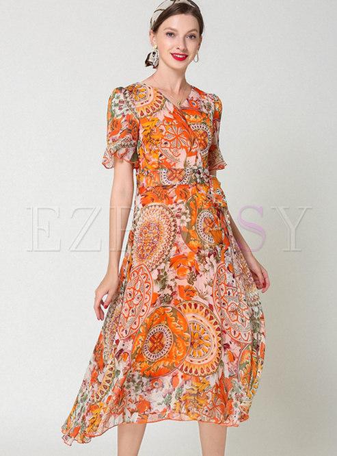 Vintage Print Tied V-neck Midi Dress