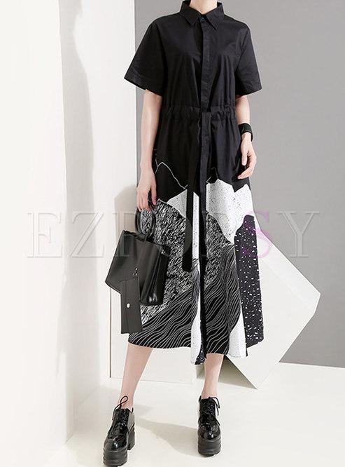 Lapel Print Patchwork High Waisted Shirt Dress