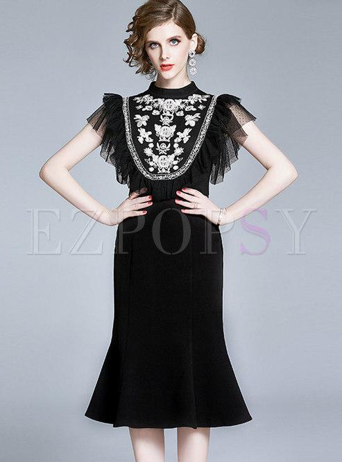 Mesh Patchwork Embroidered Stand Collar Peplum Dress