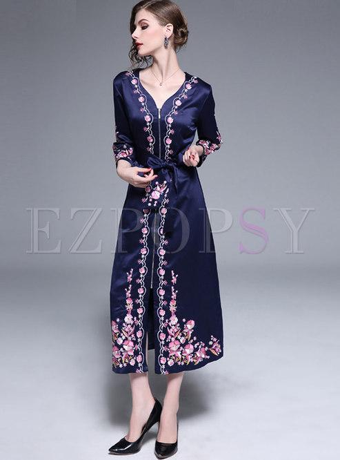 V-neck Embroidered Front Zipper Wrap Maxi Dress
