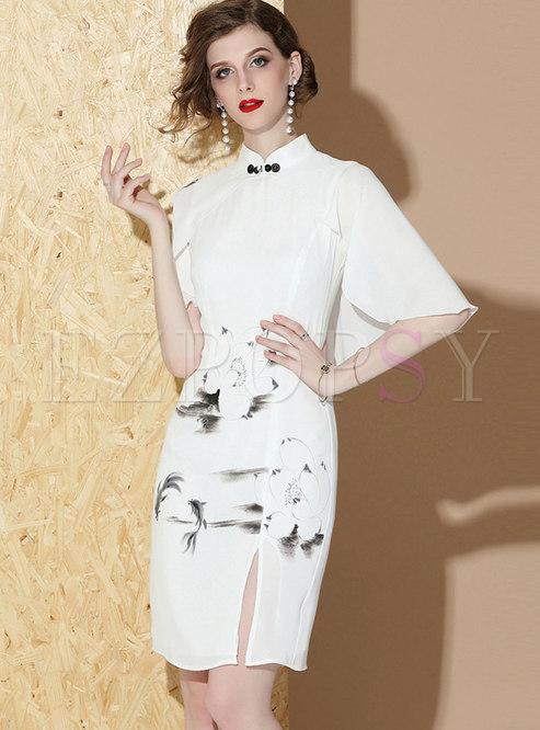 Retro Stand Collar Slit Print Sheath Dress