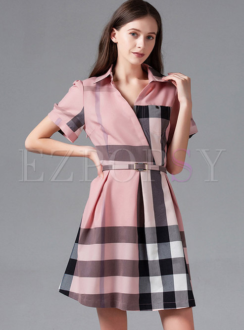 Pink Plaid Lapel Belted Skater Dress