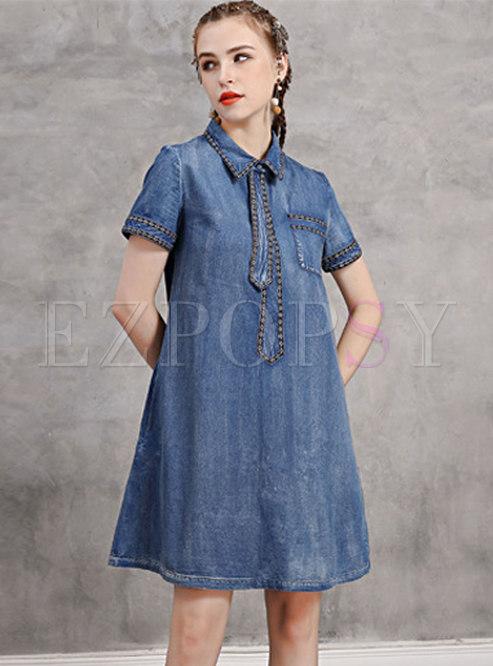 Denim Embroidered Lapel Tie Shift Dress