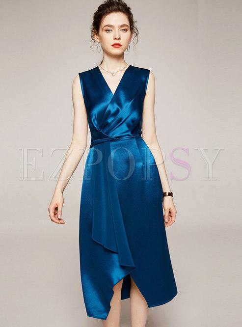 Satin V-neck Asymmetric Slim A-line Dress