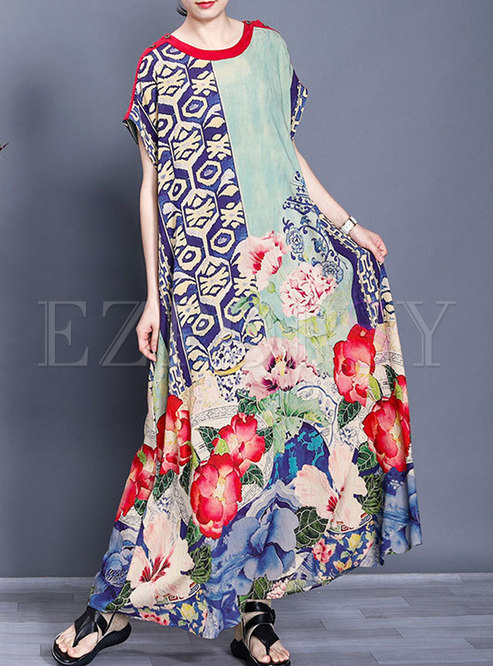 Vintage Print Crew Neck Shift Maxi Dress