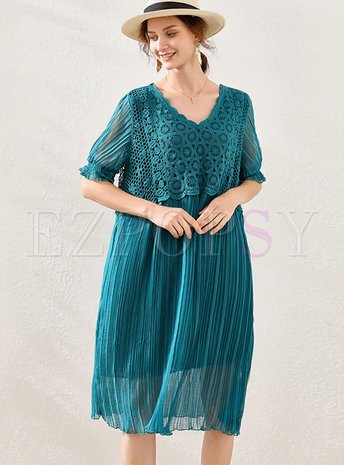 V-neck Lace Patchwork Pleated Shift Dress