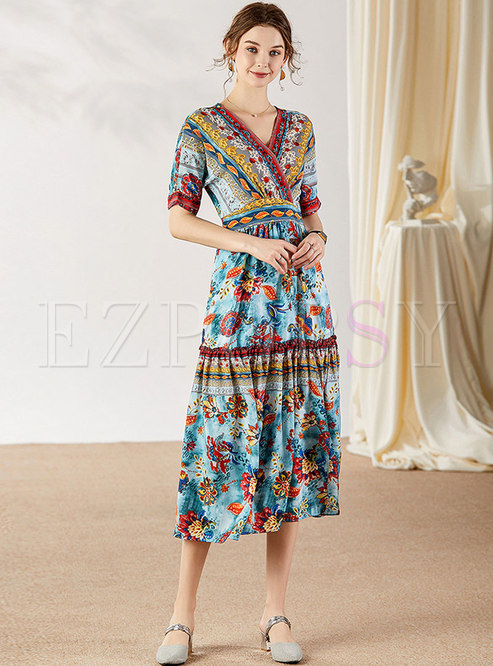 Bohemia Print Gathered Waist Maxi Dress