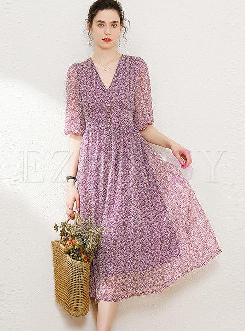 Chiffon Print V-neck Puff Sleeve Midi Dress
