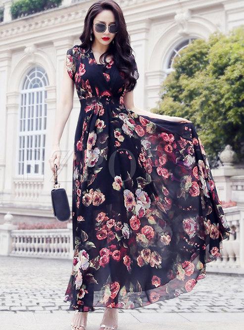 Bohemia Print V-neck Gathered Waist Maxi Dress